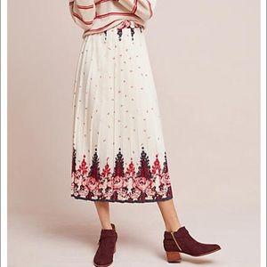 Anthropologie Ranna Gill Esme Pleated Midi Skirt